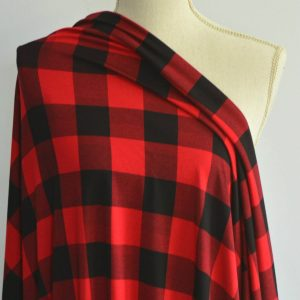 Buffalo Plaid Bamboo Rayon Spandex, Red - 1/2 meter