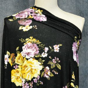 Rayon Spandex, Banbury Floral on BLACK - 1/2 meter