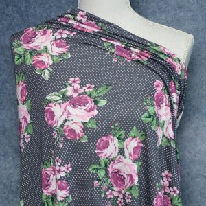 Rayon Spandex, Berkeley Floral/Dots on Charcoal - 1/2 meter