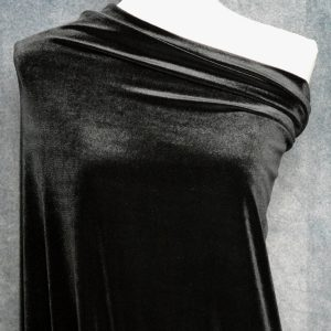 Stretch Velvet, Black - 1/2 meter