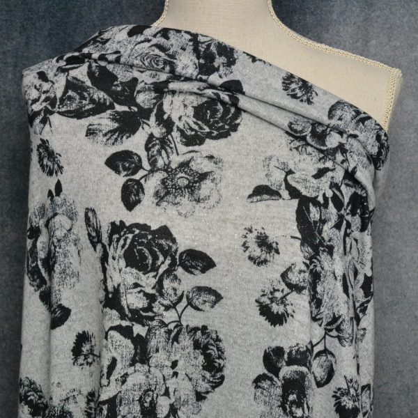 Hacci Brushed Sweater Knit, Sparkly Black Floral on Heather Grey - 1/2 meter