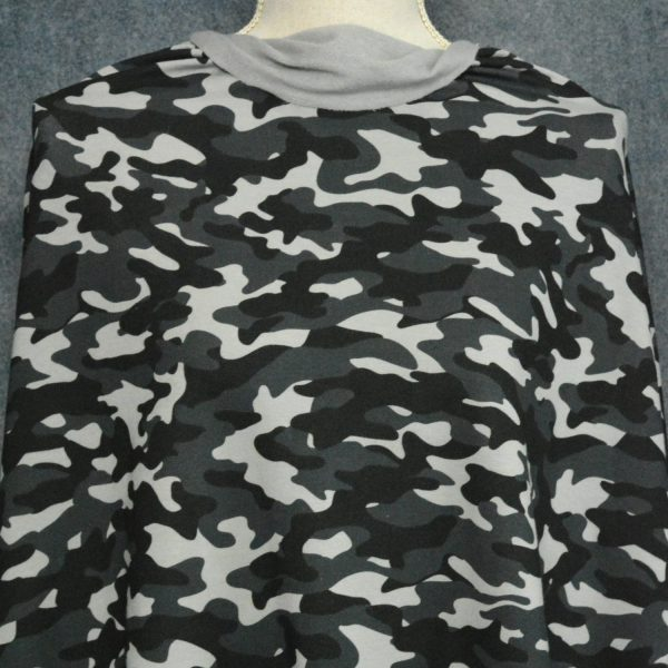 Bamboo Stretch French Terry, Black/Flint Camo - 1/2 meter