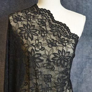 Stretch Lace Veneshya Scalloped Floral - Black