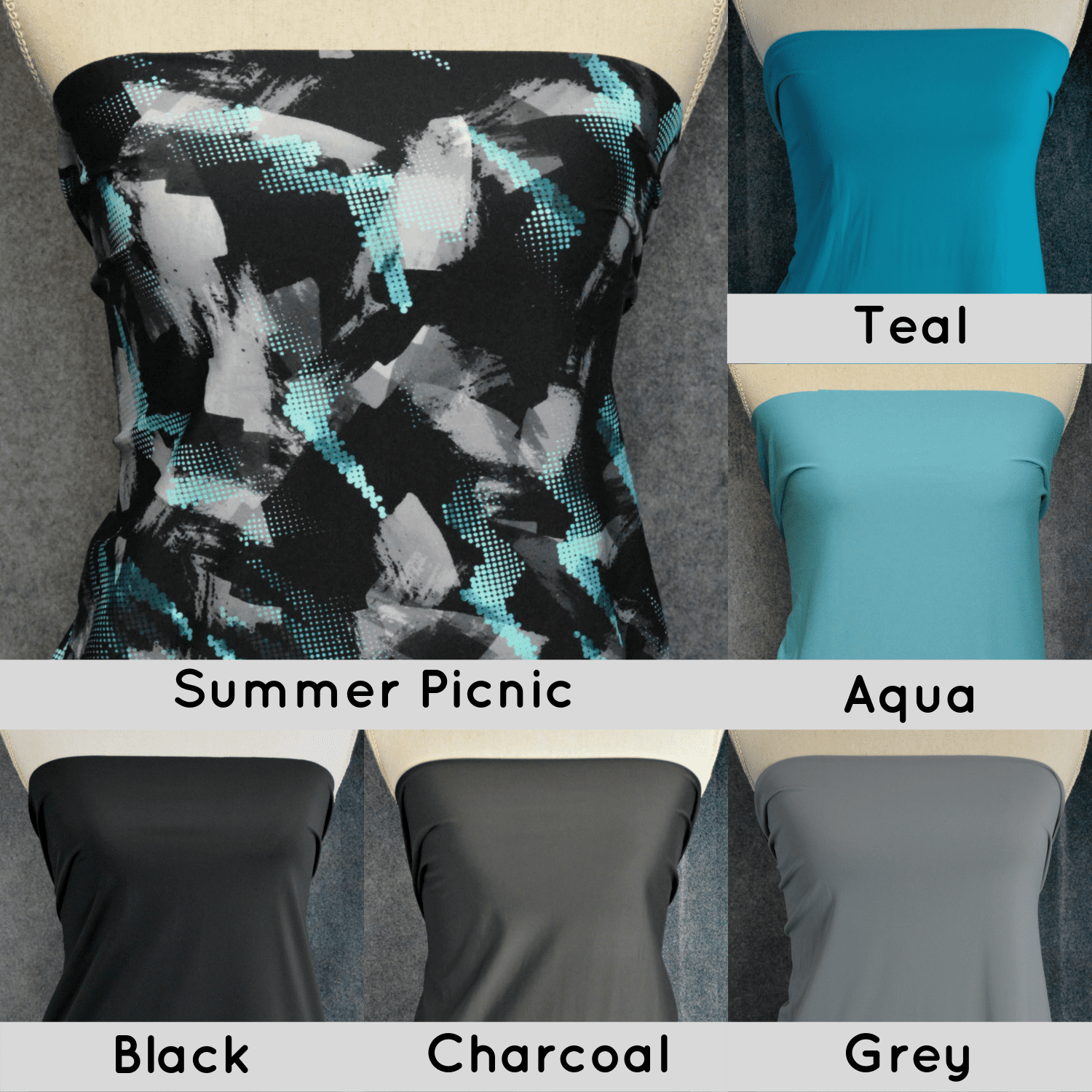 Nylon Spandex Swim Knit, Black/Grey/Teal Abstract - 1/2 meter