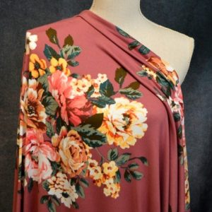 Leyland Double Brushed Poly, Bouquet on DARK ROSE - 1/2 meter