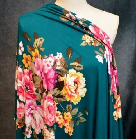 Leyland Double Brushed Poly, Bouquet on DARK TEAL - 1/2 meter