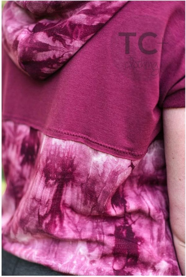 Brushed French Terry, Tie Dye BURGUNDY - 1/2 meter