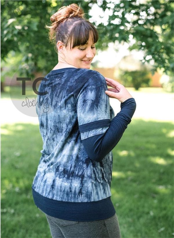 Brushed French Terry, Tie Dye NAVY - 1/2 meter