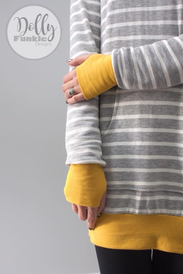 Brushed French Terry, Ivory Stripes on HEATHER GREY (NC) - 1/2 meter