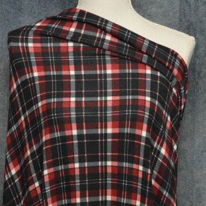 Brushed Sweater Knit, Wine/Black Tartan Plaid - 1/2 meter
