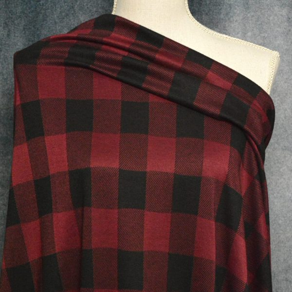 Double Knit Jacquard, BURGUNDY Buffalo Plaid - 1/2 meter