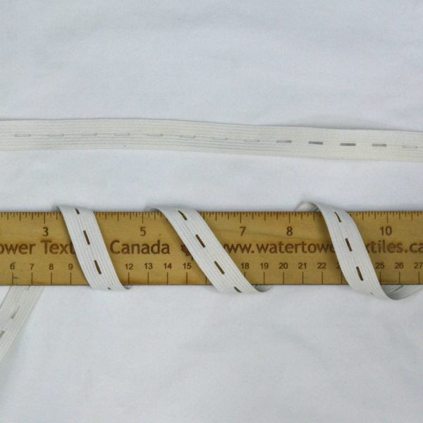 "5/8"" (15 mm) Button Hole Elastic, White - 1 meter"
