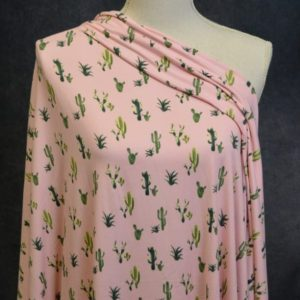 Double Brushed Poly, Green Cactus on Pink - 1/2 meter