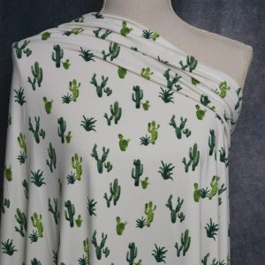 Double Brushed Poly, Green Cactus on Ivory - 1/2 meter