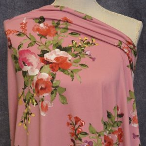 Cambridge Double Brushed Poly Spandex, Floral on ROSE - 1/2 meter