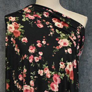 Clare Double Brushed Poly Spandex, Pink Floral on BLACK - 1/2 meter