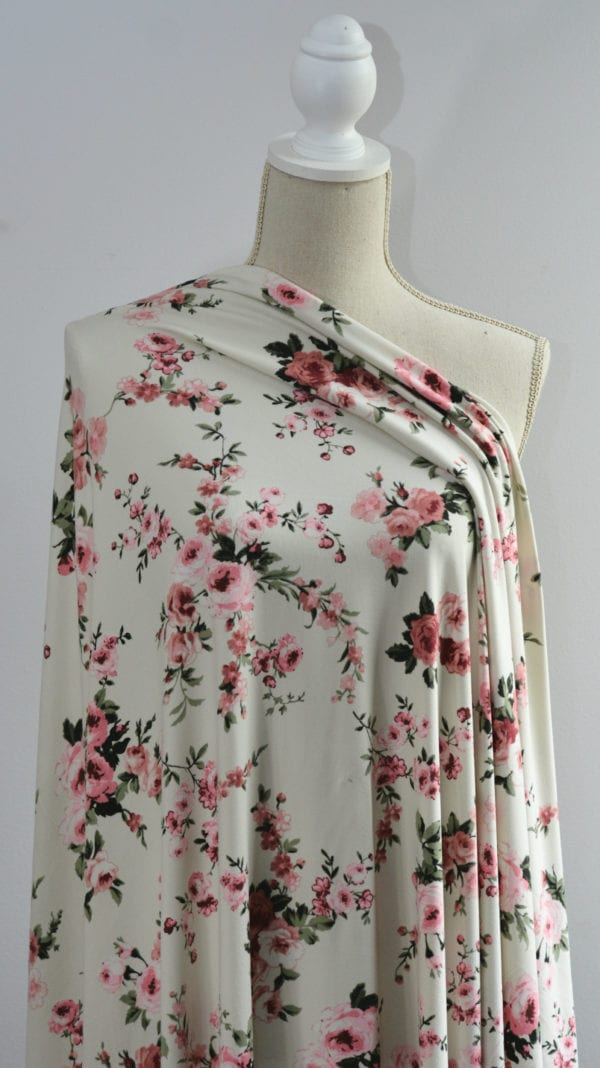 Clare Double Brushed Poly Spandex, Pink Floral on Ivory - 1/2 meter