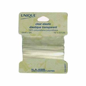 "3/8"" (10 mm) Elastic, Clear - 3m pkg"