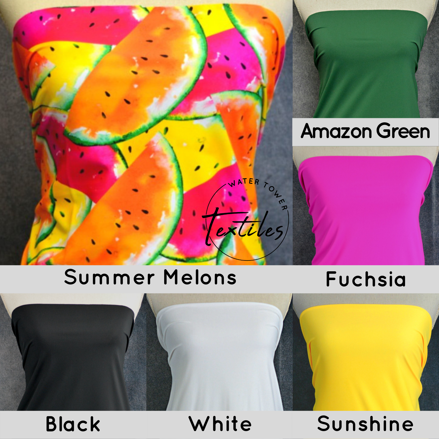 Nylon Spandex Swim Knit, Summer Melons - 1/2 meter