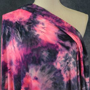 Double Brushed Poly, Neon Pink Bejeweled Tie Dye - 1/2 meter