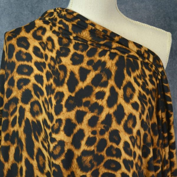 Double Brushed Poly, Leopard Print - 1/2 meter