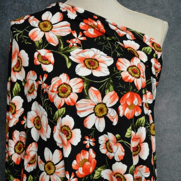 Dover Double Brushed Poly Spandex, Poppies on BLACK - 1/2 meter