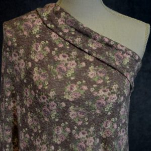 Tri-Blend Jersey, Mauve Floral on Wine - 1/2 meter