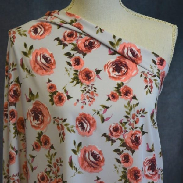 Stretch Woven, Coral Roses on Stone - 1/2 meter