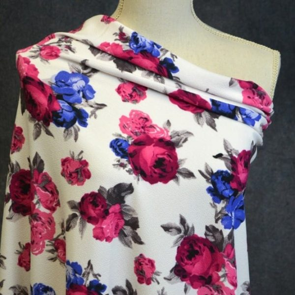 Liverpool, Laura Royal and Fuschia Floral on White - 1/2 meter