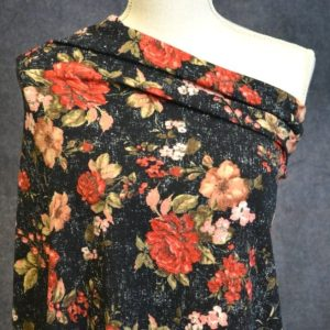 Liverpool, Sarina Floral Red on Distressed Black - 1/2 meter