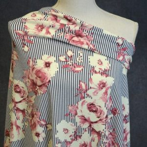 Liverpool, Millicent Floral on Stripes - 1/2 meter