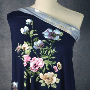 Yelvertoft Double Brushed Poly, Bouquets on Navy - 1/2 meter