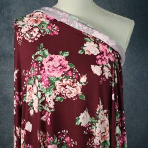 Blythe Bridge Double Brushed Poly, Pink Floral on CRANBERRY - 1/2 meter