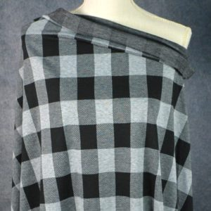 Double Knit Jacquard, HEATHER GREY/BLACK Buffalo Plaid - 1/2 meter