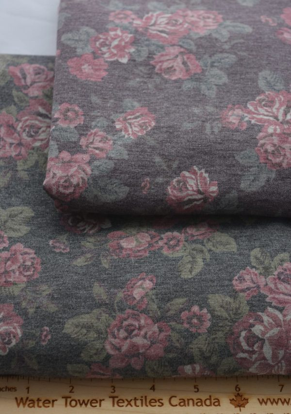 French Terry, Romance on Vintage Plum - 1/2 meter