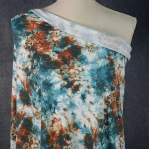 Brushed French Terry, Tie Dye TEAL/COPPER - 1/2 meter