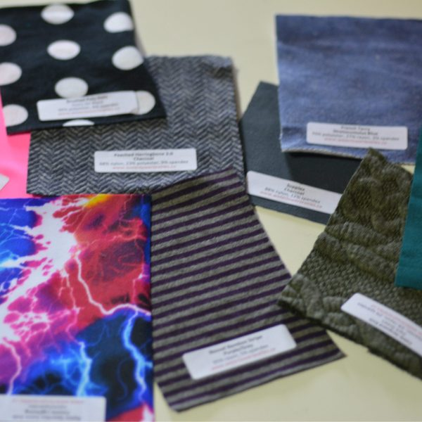 "Sample Pack, Labeled Assortment of 3""x3"" Knit Fabric"