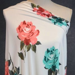 FDY Polyester Spandex, Coral/Aqua Floral on Ivory - 1/2 meter