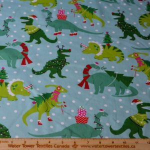 Doodles Cotton Spandex Interlock, Christmas Dinosaurs (LIMITED) - 1/2 meter