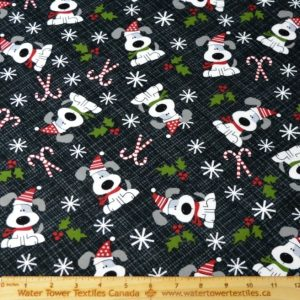 Doodles Cotton Spandex Interlock, Christmas Pups (LIMITED) - 1/2 meter