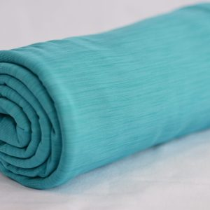 Fleece-Back Polyester Spandex, Heather Turquoise - 1/2 meter