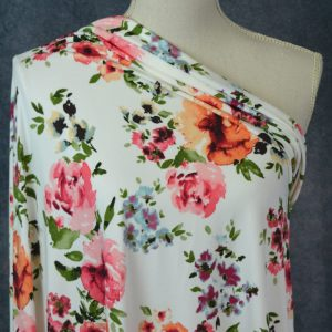 FDY Polyester Spandex, Spring Watercolour on Ivory - 1/2 meter
