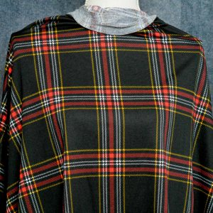 French Terry, Red/Black Tartan Plaid - 1/2 meter