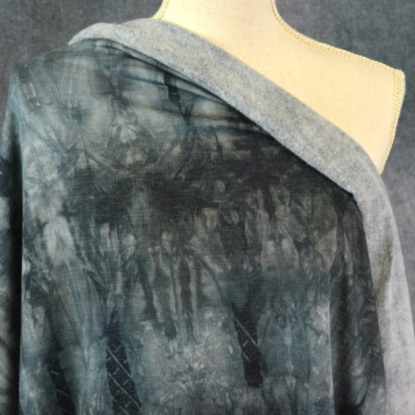 Brushed French Terry, Tie Dye BLACK - 1/2 meter