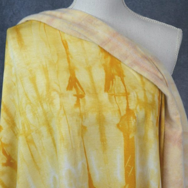 Brushed French Terry, Tie Dye MUSTARD - 1/2 meter