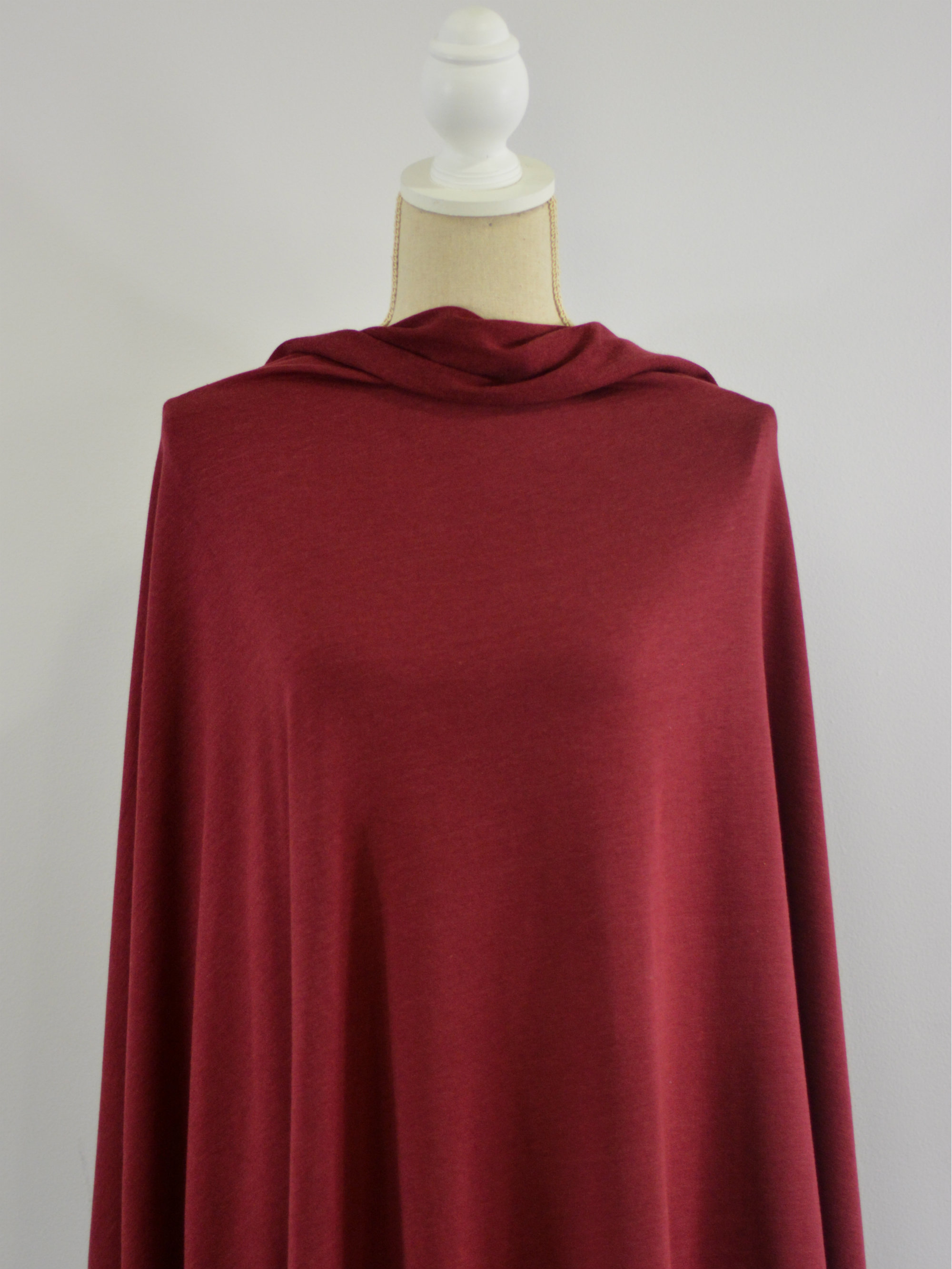 Bamboo Stretch French Terry, Burgundy - 1/2 meter