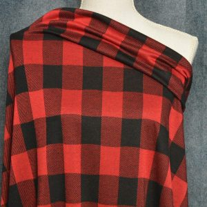 Double Knit Jacquard, Red Buffalo Plaid - 1/2 meter