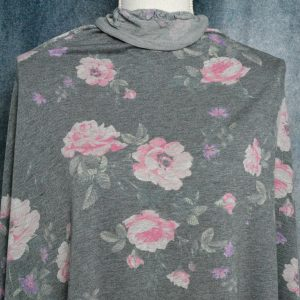 French Terry Floral, Pink on CHARCOAL - 1/2 meter