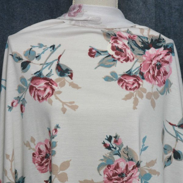 French Terry Floral, Cream - 1/2 meter