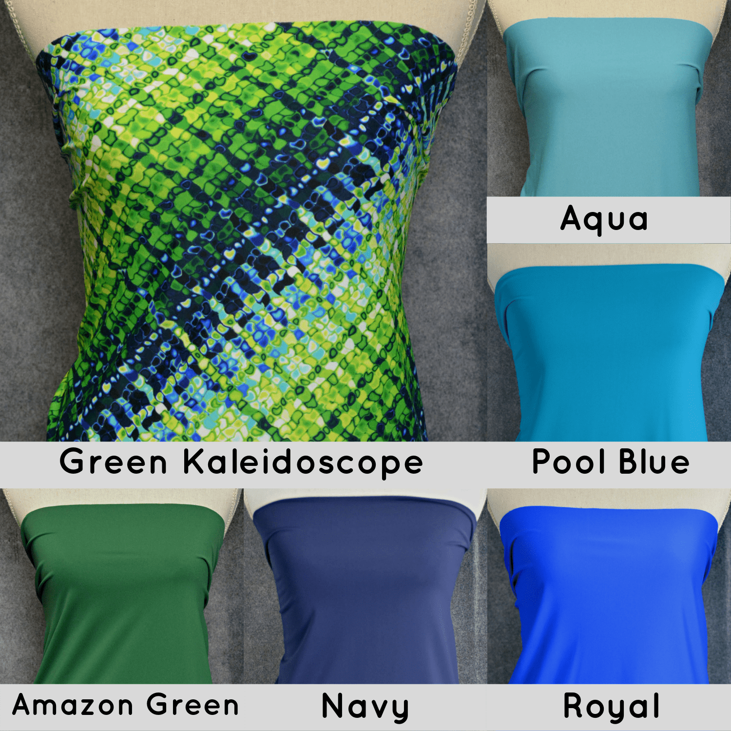 Nylon Spandex Swim Knit, GREEN Kaleidoscope - 1/2 meter